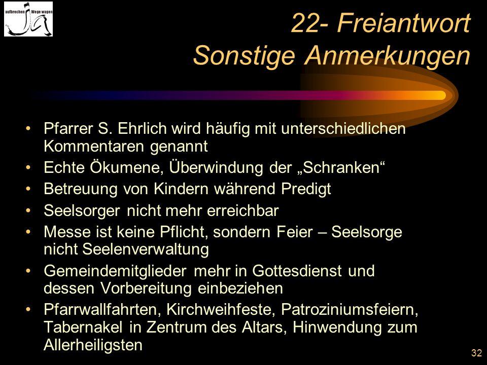 32 22- Freiantwort Sonstige Anmerkungen Pfarrer S. Ehrlich wird häufig mit unterschiedlichen Kommentaren genannt Echte Ökumene, Überwindung der Schran