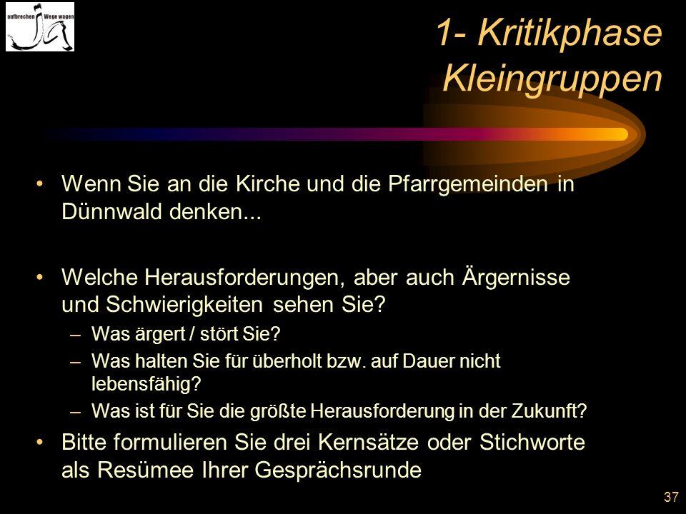 37 1- Kritikphase Kleingruppen Wenn Sie an die Kirche und die Pfarrgemeinden in Dünnwald denken... Welche Herausforderungen, aber auch Ärgernisse und