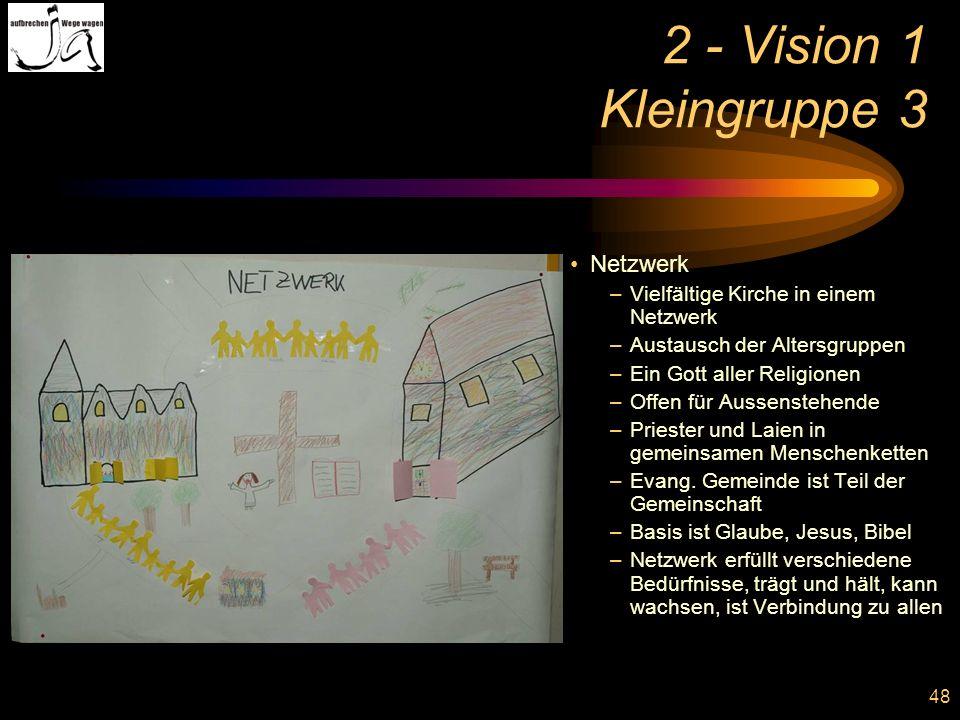 48 2 - Vision 1 Kleingruppe 3 Netzwerk –Vielfältige Kirche in einem Netzwerk –Austausch der Altersgruppen –Ein Gott aller Religionen –Offen für Aussen