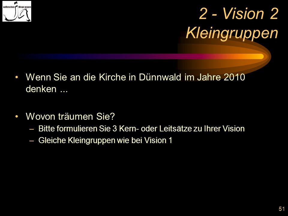 51 2 - Vision 2 Kleingruppen Wenn Sie an die Kirche in Dünnwald im Jahre 2010 denken... Wovon träumen Sie? –Bitte formulieren Sie 3 Kern- oder Leitsät