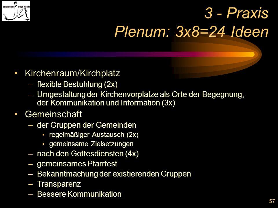 57 3 - Praxis Plenum: 3x8=24 Ideen Kirchenraum/Kirchplatz –flexible Bestuhlung (2x) –Umgestaltung der Kirchenvorplätze als Orte der Begegnung, der Kom