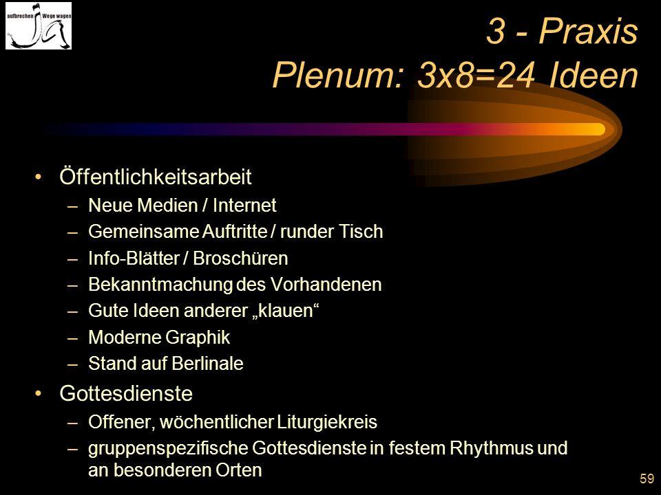 59 3 - Praxis Plenum: 3x8=24 Ideen Öffentlichkeitsarbeit –Neue Medien / Internet –Gemeinsame Auftritte / runder Tisch –Info-Blätter / Broschüren –Beka
