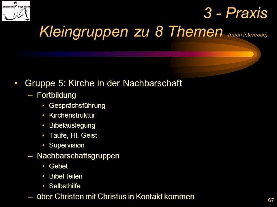 67 3 - Praxis Kleingruppen zu 8 Themen (nach Interesse) Gruppe 5: Kirche in der Nachbarschaft –Fortbildung Gesprächsführung Kirchenstruktur Bibelausle