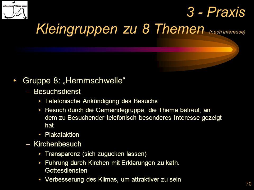 70 3 - Praxis Kleingruppen zu 8 Themen (nach Interesse) Gruppe 8: Hemmschwelle –Besuchsdienst Telefonische Ankündigung des Besuchs Besuch durch die Ge