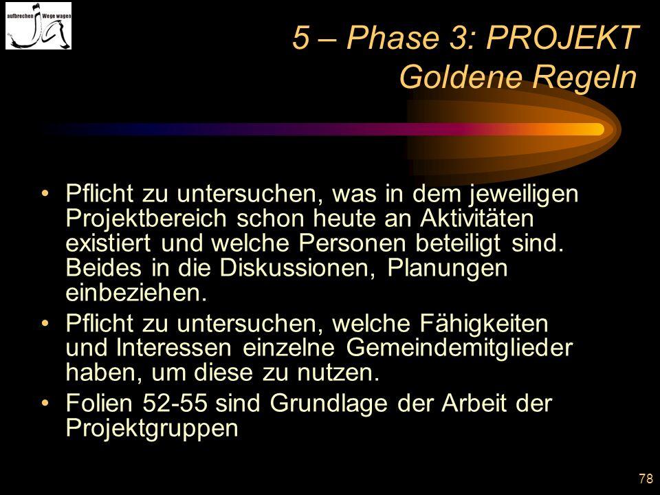 78 5 – Phase 3: PROJEKT Goldene Regeln Pflicht zu untersuchen, was in dem jeweiligen Projektbereich schon heute an Aktivitäten existiert und welche Pe