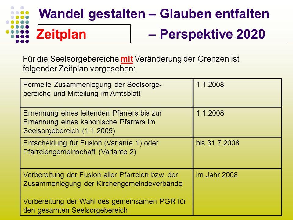 Wandel gestalten – Glauben entfalten – Perspektive 2020 Zeitplan Für die Seelsorgebereiche mit Veränderung der Grenzen ist folgender Zeitplan vorgeseh
