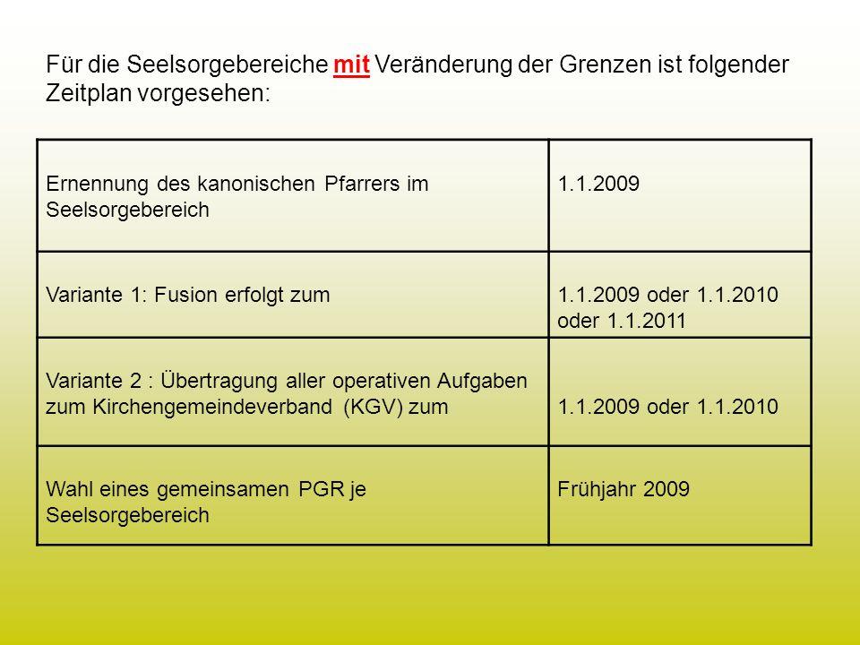 Entscheidung für Fusion (Variante 1) oder Pfarreiengemeinschaft (Variante 2) bis 31.7.2008 Vorbereitung der Fusion aller Pfarreien bzw.