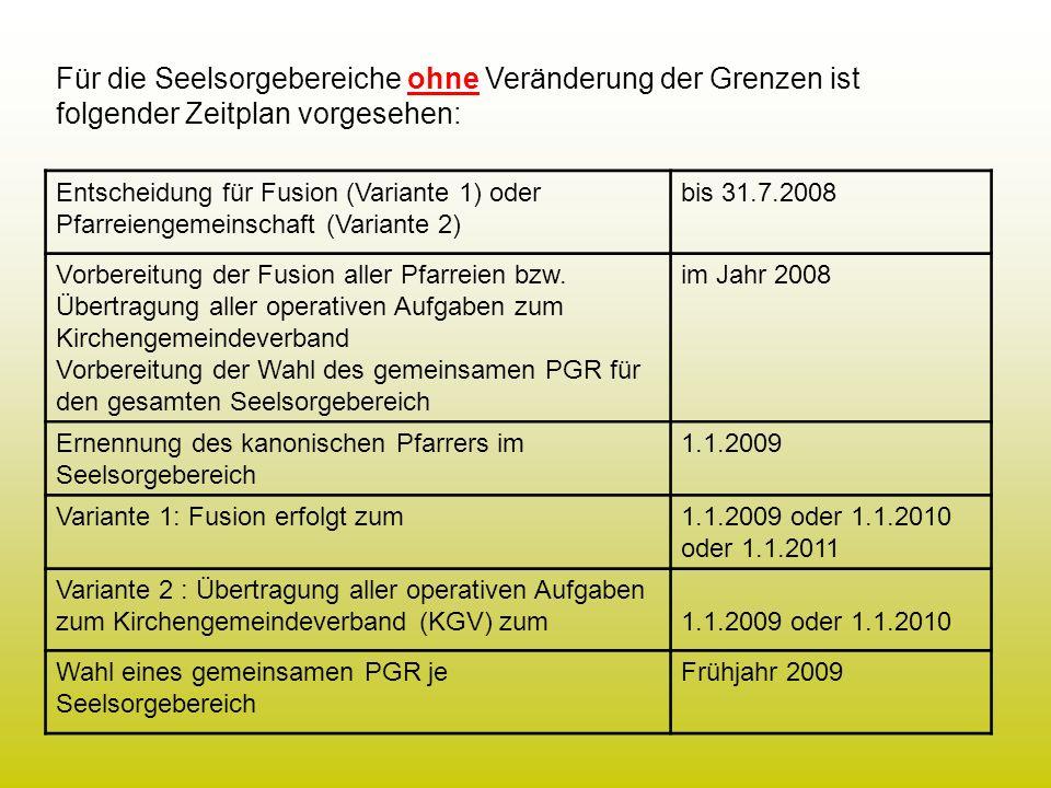 Entscheidung für Fusion (Variante 1) oder Pfarreiengemeinschaft (Variante 2) bis 31.7.2008 Vorbereitung der Fusion aller Pfarreien bzw. Übertragung al