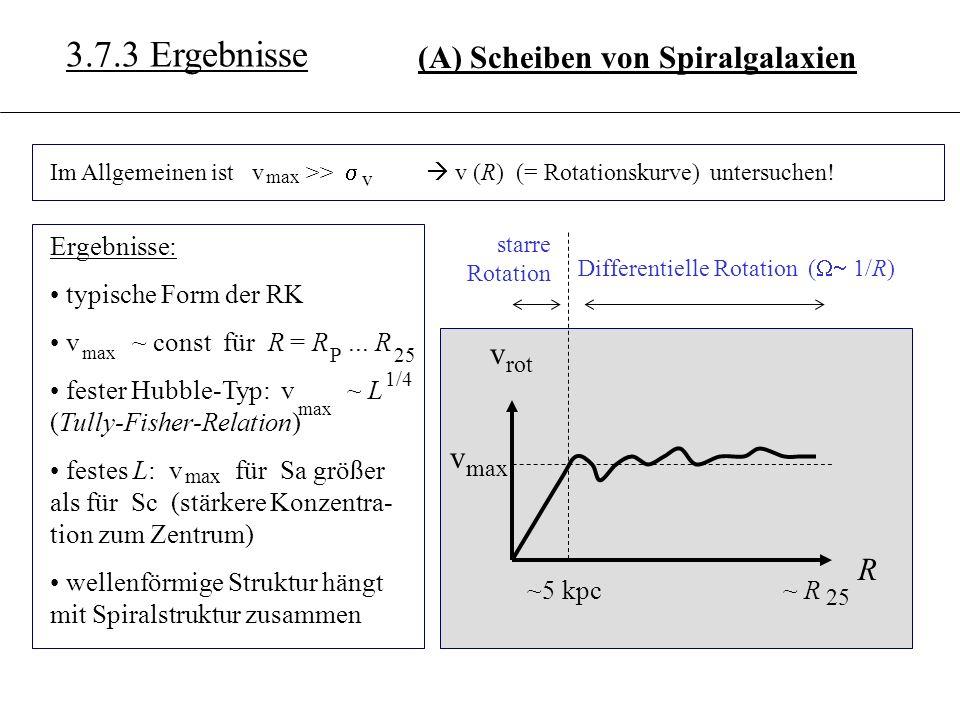 3.6.3 3.7.3 Ergebnisse (A) Scheiben von Spiralgalaxien Im Allgemeinen ist v >> max v v (R) (= Rotationskurve) untersuchen! Differentielle Rotation ( 1