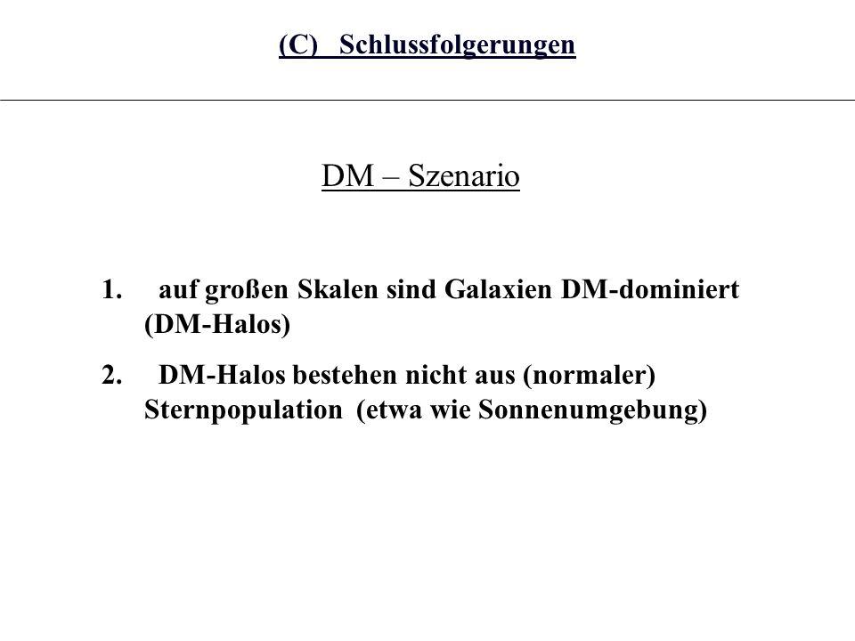 DM – Szenario 1. auf großen Skalen sind Galaxien DM-dominiert (DM-Halos) 2. DM-Halos bestehen nicht aus (normaler) Sternpopulation (etwa wie Sonnenumg