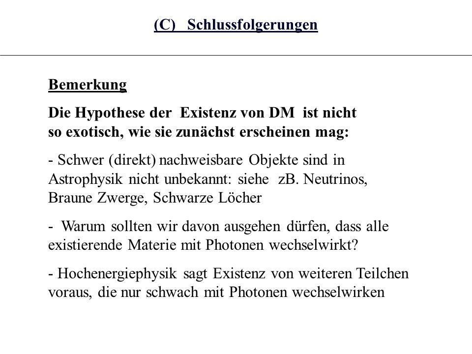 (C) Schlussfolgerungen Bemerkung Die Hypothese der Existenz von DM ist nicht so exotisch, wie sie zunächst erscheinen mag: - Schwer (direkt) nachweisb