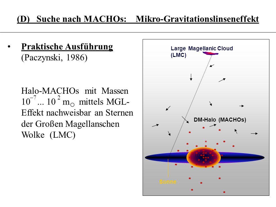 3.6.16 (D) Suche nach MACHOs: Mikro-Gravitationslinseneffekt Sonne Large Magellanic Cloud (LMC) DM-Halo (MACHOs) Praktische Ausführung (Paczynski, 198