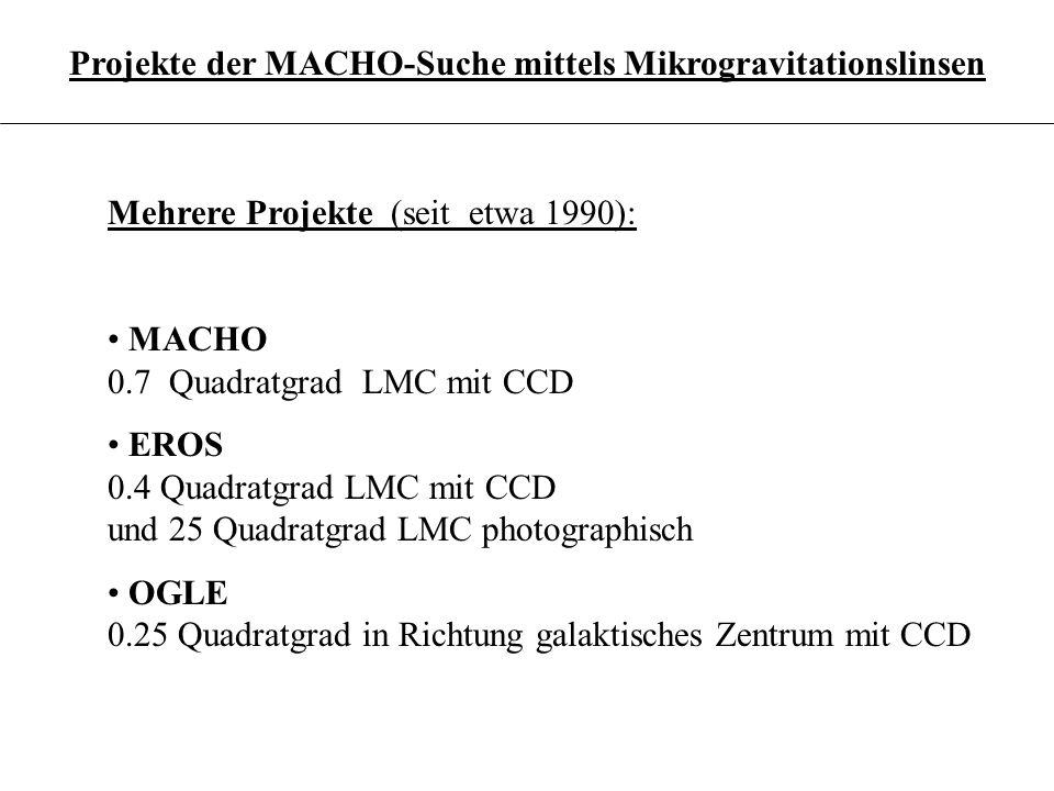 3.6.19 Projekte der MACHO-Suche mittels Mikrogravitationslinsen Mehrere Projekte (seit etwa 1990): MACHO 0.7 Quadratgrad LMC mit CCD EROS 0.4 Quadratg