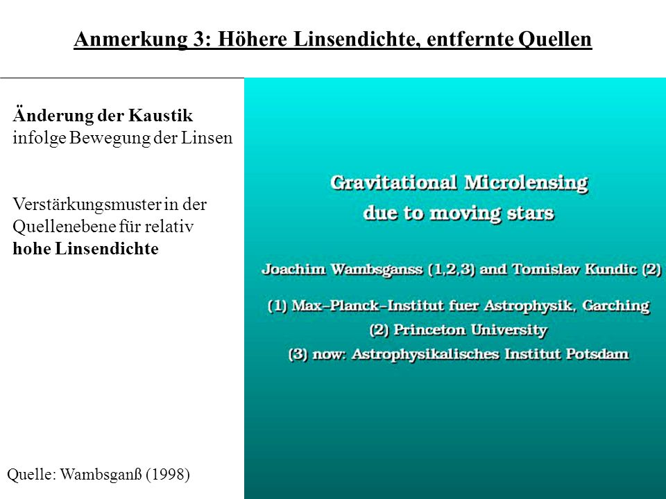 3.6.20 Änderung der Kaustik infolge Bewegung der Linsen Verstärkungsmuster in der Quellenebene für relativ hohe Linsendichte Quelle: Wambsganß (1998)