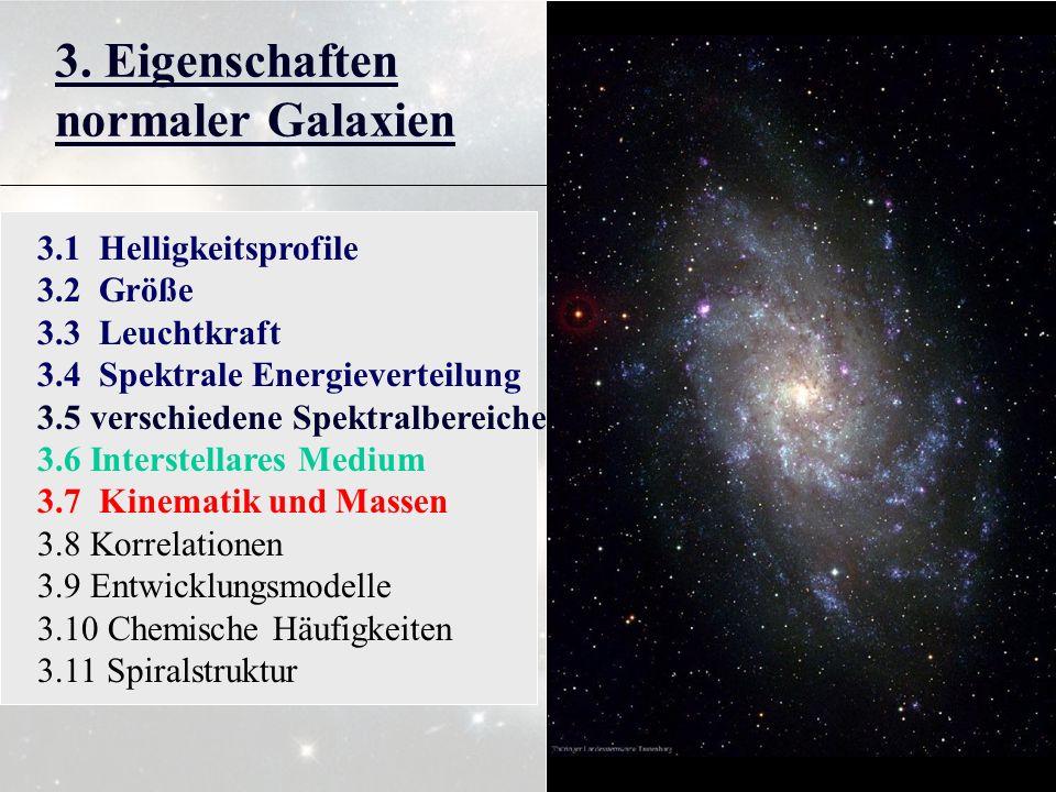 3. Eigenschaften normaler Galaxien 3.1 Helligkeitsprofile 3.2 Größe 3.3 Leuchtkraft 3.4 Spektrale Energieverteilung 3.5 verschiedene Spektralbereiche