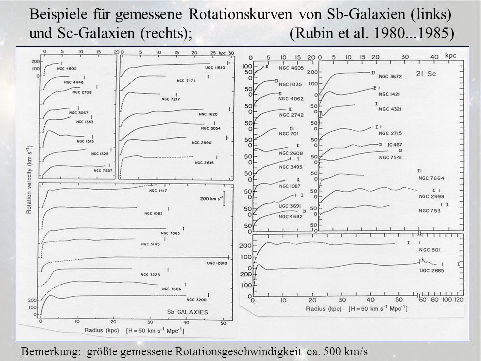 3.6.4 Beispiele für gemessene Rotationskurven von Sb-Galaxien (links) und Sc-Galaxien (rechts); (Rubin et al. 1980...1985) Bemerkung: größte gemessene