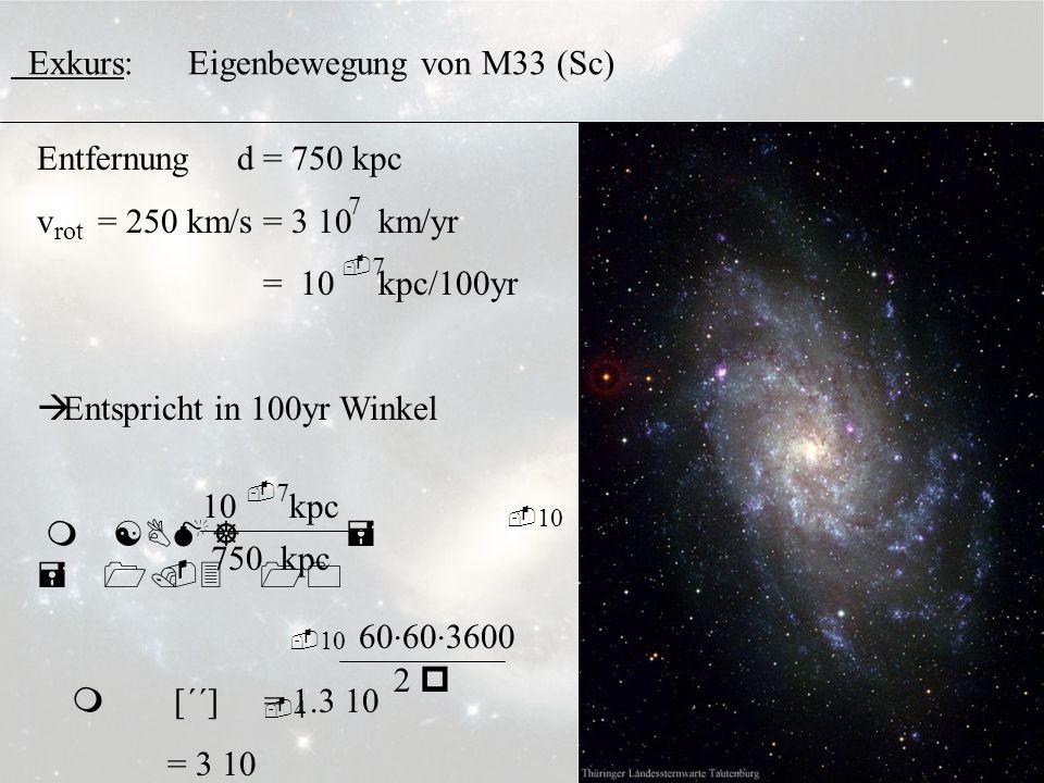 3.6.4 Exkurs: Eigenbewegung von M33 (Sc) Entfernung d = 750 kpc v = 250 km/s = 3 10 km/yr = 10 kpc/100yr Entspricht in 100yr Winkel m [BM] = = 1.3 10