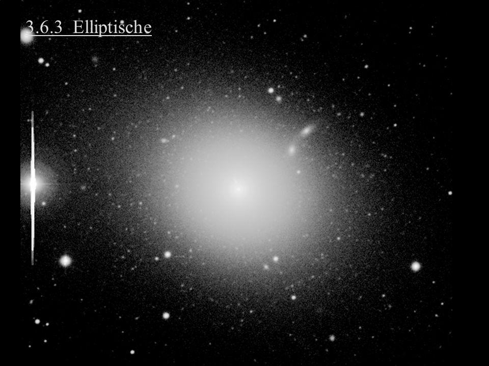 3.6.8 (b) Deutung der flachen Rotationskurven 2.Bei großem R dominiert zunehmend eine nichtleuchtende Materiekomponente Je größer R, desto mehr Dunkle Materie (DM) Galaxien sind in Halos aus DM eingebettet (DM-Halo)
