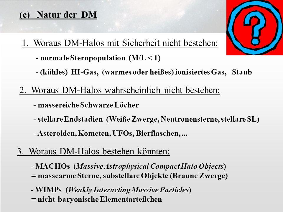 3.6.15 (c) Natur der DM 1. Woraus DM-Halos mit Sicherheit nicht bestehen: - normale Sternpopulation (M/L < 1) - (kühles) HI-Gas, (warmes oder heißes)