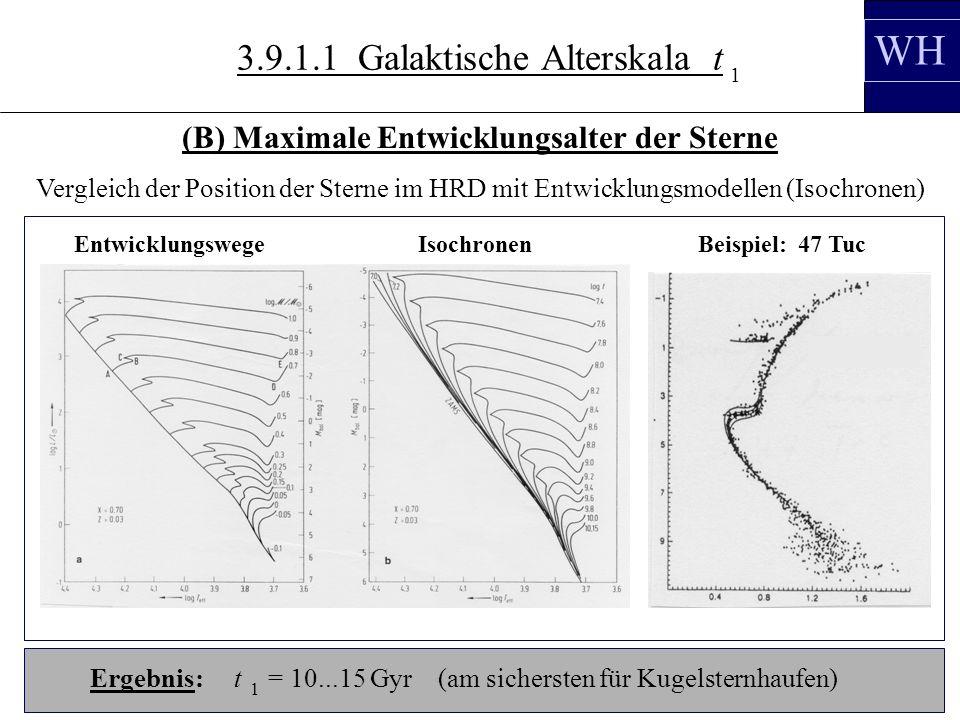 3.10.3 Vergleich der Position der Sterne im HRD mit Entwicklungsmodellen (Isochronen) Ergebnis: t = 10...15 Gyr (am sichersten für Kugelsternhaufen) 1 EntwicklungswegeIsochronenBeispiel: 47 Tuc WH (B) Maximale Entwicklungsalter der Sterne 1 3.9.1.1 Galaktische Alterskala t