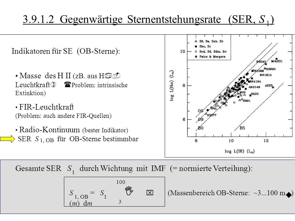 3.10.5 3.9.1.2 Gegenwärtige Sternentstehungsrate (SER, S ) 1 Indikatoren für SE (OB-Sterne): Masse des H II (zB.