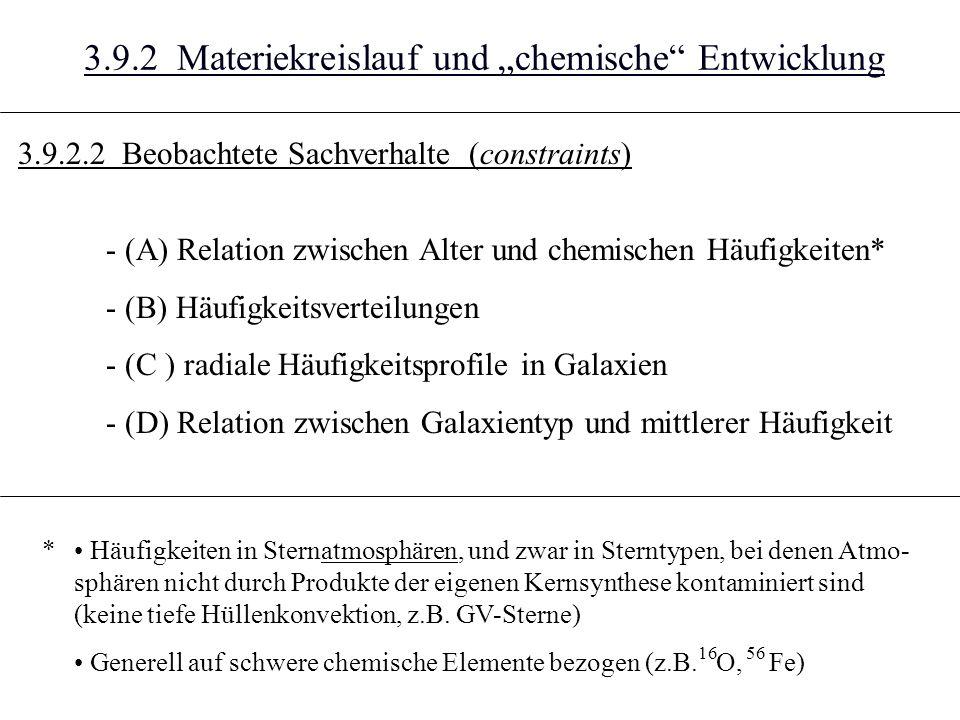 3.9.2 Materiekreislauf und chemische Entwicklung - (A) Relation zwischen Alter und chemischen Häufigkeiten* - (B) Häufigkeitsverteilungen - (C ) radiale Häufigkeitsprofile in Galaxien - (D) Relation zwischen Galaxientyp und mittlerer Häufigkeit Häufigkeiten in Sternatmosphären, und zwar in Sterntypen, bei denen Atmo- sphären nicht durch Produkte der eigenen Kernsynthese kontaminiert sind (keine tiefe Hüllenkonvektion, z.B.