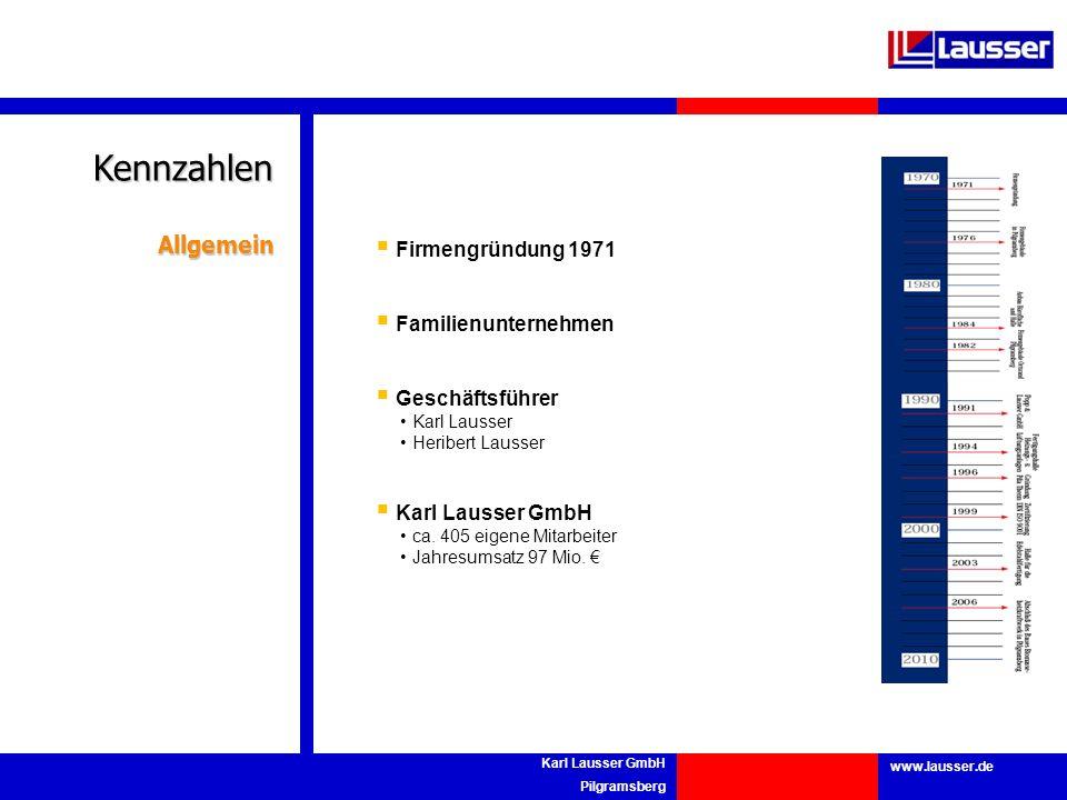 www.lausser.de Karl Lausser GmbH Pilgramsberg Firmengründung 1971 Familienunternehmen Geschäftsführer Karl Lausser Heribert Lausser Karl Lausser GmbH