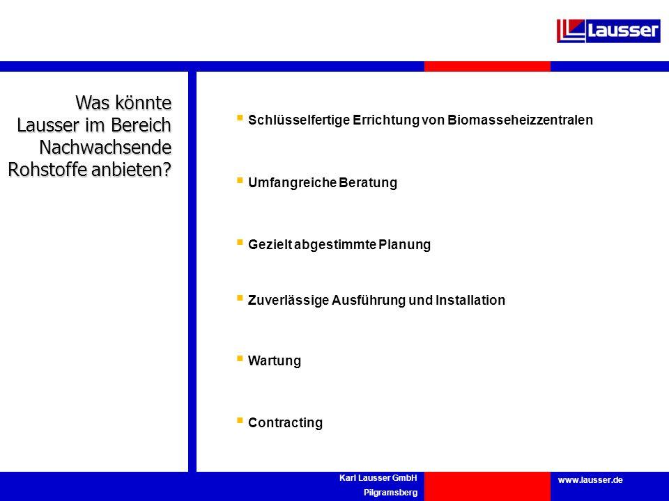 www.lausser.de Karl Lausser GmbH Pilgramsberg Was könnte Lausser im Bereich Nachwachsende Rohstoffe anbieten? Schlüsselfertige Errichtung von Biomasse