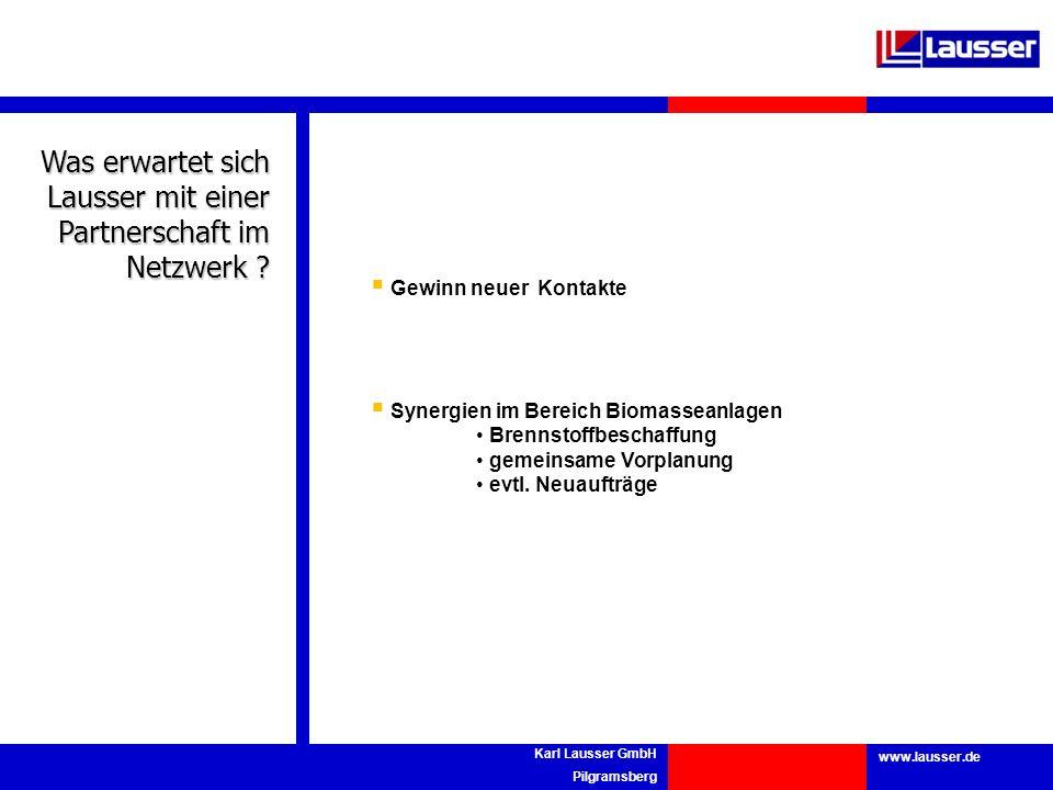 www.lausser.de Karl Lausser GmbH Pilgramsberg Was erwartet sich Lausser mit einer Partnerschaft im Netzwerk ? Gewinn neuer Kontakte Synergien im Berei