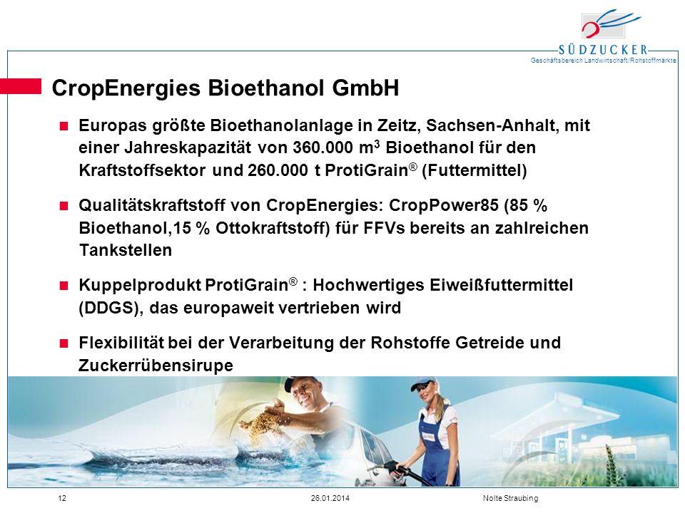 Geschäftsbereich Landwirtschaft/Rohstoffmärkte 1226.01.2014 Nolte Straubing CropEnergies Bioethanol GmbH Europas größte Bioethanolanlage in Zeitz, Sac