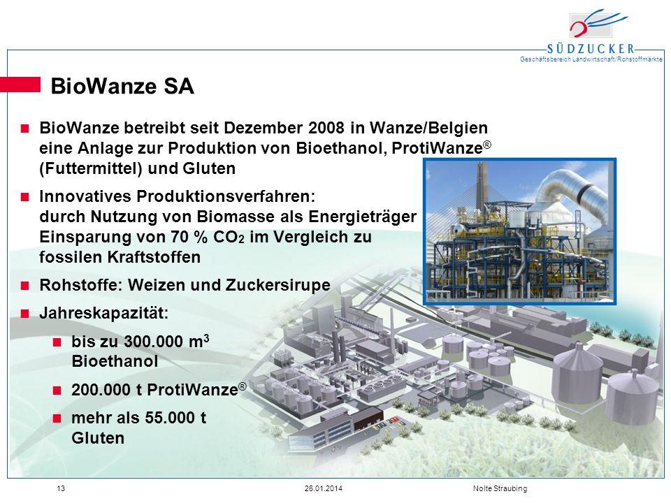 Geschäftsbereich Landwirtschaft/Rohstoffmärkte 1326.01.2014 Nolte Straubing BioWanze SA BioWanze betreibt seit Dezember 2008 in Wanze/Belgien eine Anl