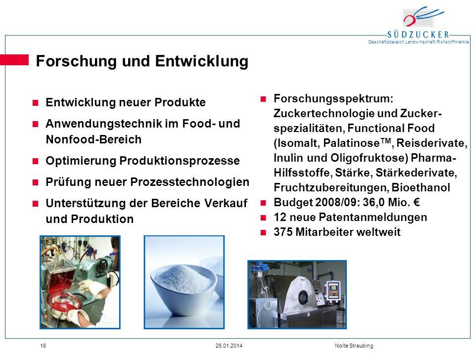 Geschäftsbereich Landwirtschaft/Rohstoffmärkte 1826.01.2014 Nolte Straubing Forschung und Entwicklung Entwicklung neuer Produkte Anwendungstechnik im
