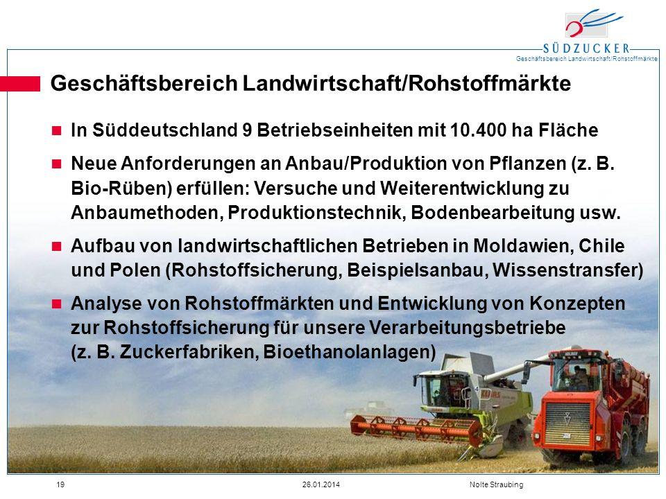Geschäftsbereich Landwirtschaft/Rohstoffmärkte 1926.01.2014 Nolte Straubing Geschäftsbereich Landwirtschaft/Rohstoffmärkte In Süddeutschland 9 Betrieb