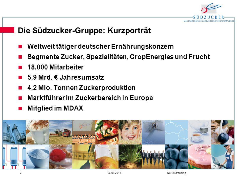 Geschäftsbereich Landwirtschaft/Rohstoffmärkte 226.01.2014 Nolte Straubing Die Südzucker-Gruppe: Kurzporträt Weltweit tätiger deutscher Ernährungskonz