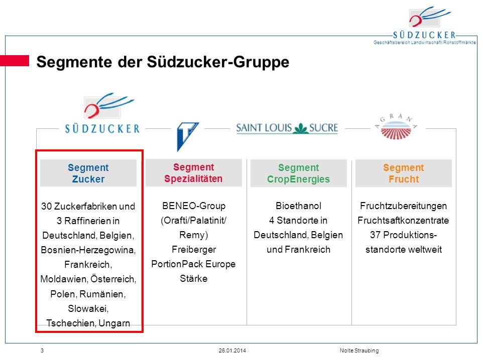 Geschäftsbereich Landwirtschaft/Rohstoffmärkte 326.01.2014 Nolte Straubing Segmente der Südzucker-Gruppe 30 Zuckerfabriken und 3 Raffinerien in Deutsc