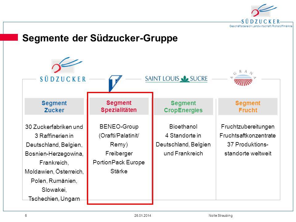 Geschäftsbereich Landwirtschaft/Rohstoffmärkte 626.01.2014 Nolte Straubing Segmente der Südzucker-Gruppe 30 Zuckerfabriken und 3 Raffinerien in Deutsc