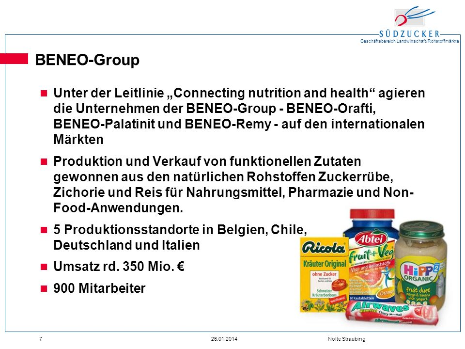 Geschäftsbereich Landwirtschaft/Rohstoffmärkte 726.01.2014 Nolte Straubing BENEO-Group Unter der Leitlinie Connecting nutrition and health agieren die