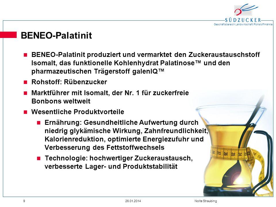 Geschäftsbereich Landwirtschaft/Rohstoffmärkte 926.01.2014 Nolte Straubing BENEO-Palatinit BENEO-Palatinit produziert und vermarktet den Zuckeraustaus
