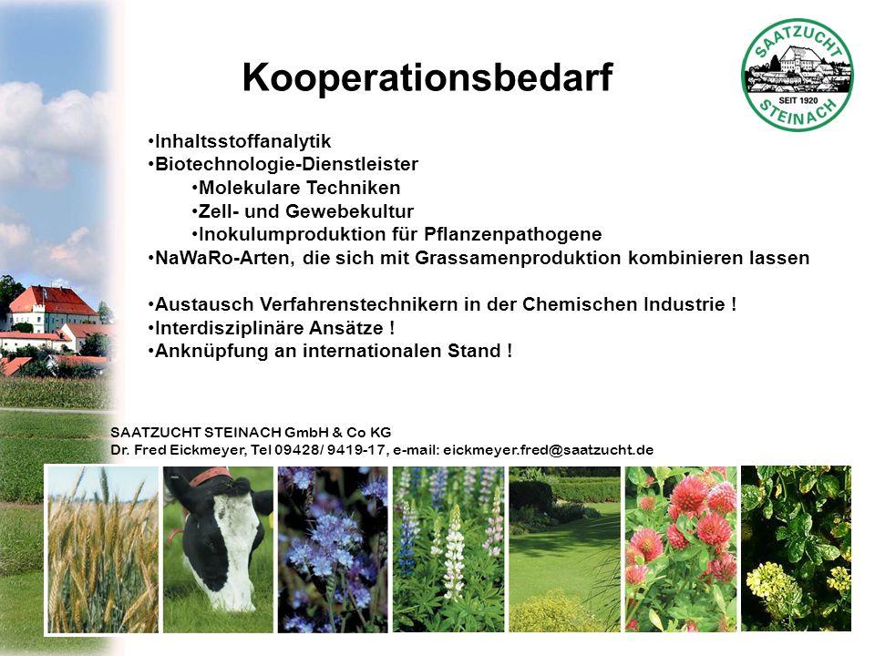 SAATZUCHT STEINACH GmbH & Co KG Dr. Fred Eickmeyer, Tel 09428/ 9419-17, e-mail: eickmeyer.fred@saatzucht.de Kooperationsbedarf Inhaltsstoffanalytik Bi