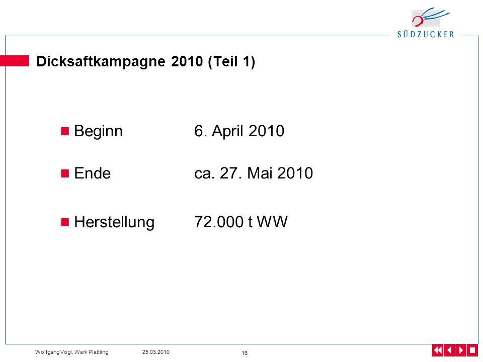 Wolfgang Vogl, Werk Plattling 25.03.2010 16 Dicksaftkampagne 2010 (Teil 1) Beginn6. April 2010 Endeca. 27. Mai 2010 Herstellung72.000 t WW