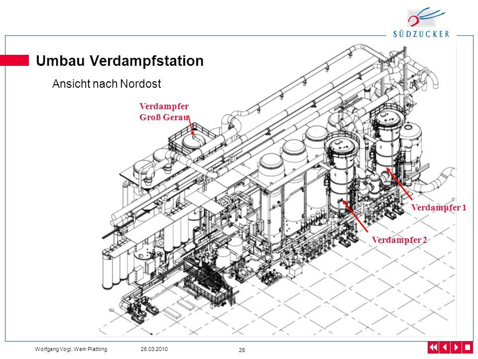 Wolfgang Vogl, Werk Plattling 25.03.2010 26 Umbau Verdampfstation Ansicht nach Nordost Verdampfer 1 Verdampfer 2 Verdampfer Groß Gerau