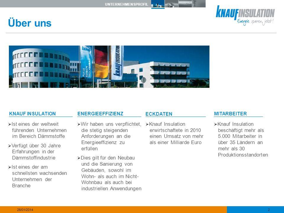 UNTERNEHMENSPROFIL 3 26/01/2014 Teil der Knauf Gruppe DIE KNAUF GRUPPEBAUSTOFFEECKDATENMITARBEITER Knauf ist ein familien- geführtes Unternehmen, das 1932 gegründet wurde.