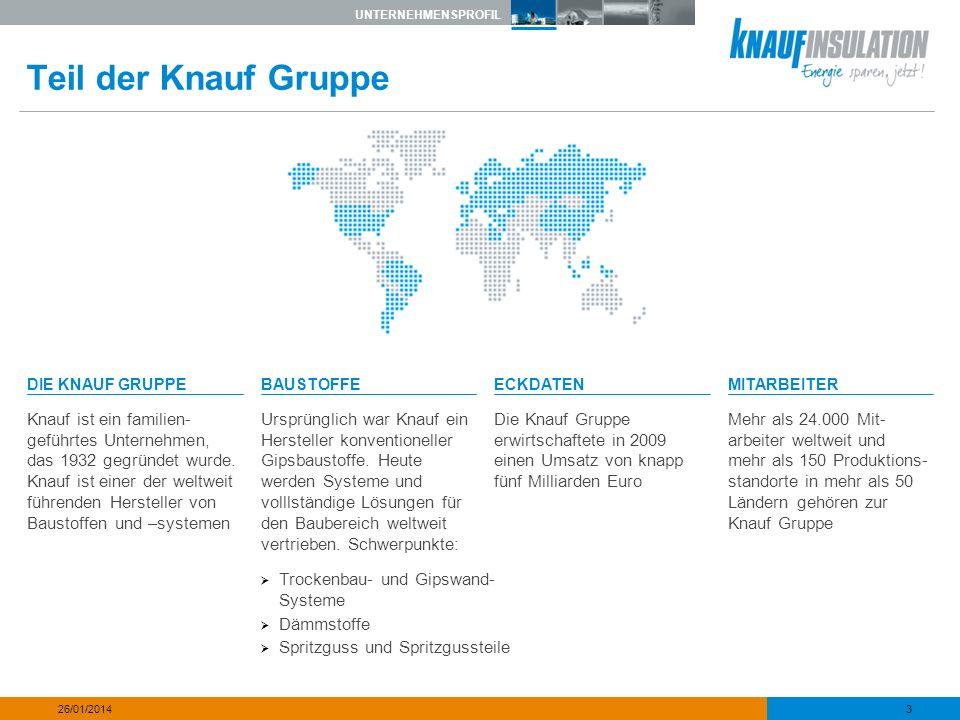 UNTERNEHMENSPROFIL 3 26/01/2014 Teil der Knauf Gruppe DIE KNAUF GRUPPEBAUSTOFFEECKDATENMITARBEITER Knauf ist ein familien- geführtes Unternehmen, das