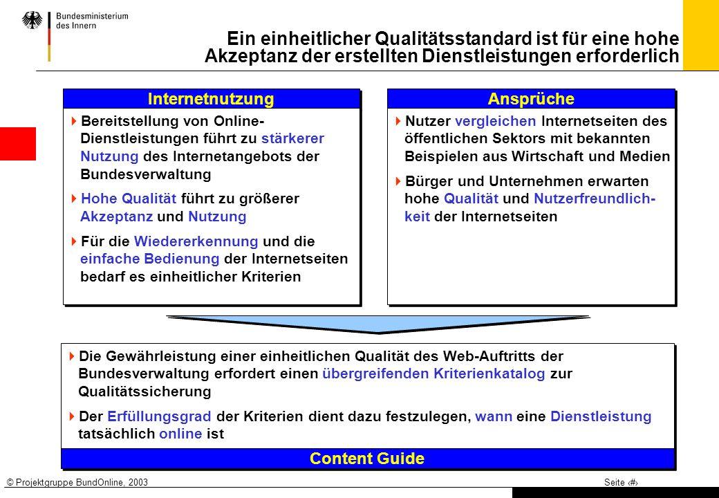 © Projektgruppe BundOnline, 2003Seite 2 Ein einheitlicher Qualitätsstandard ist für eine hohe Akzeptanz der erstellten Dienstleistungen erforderlich I