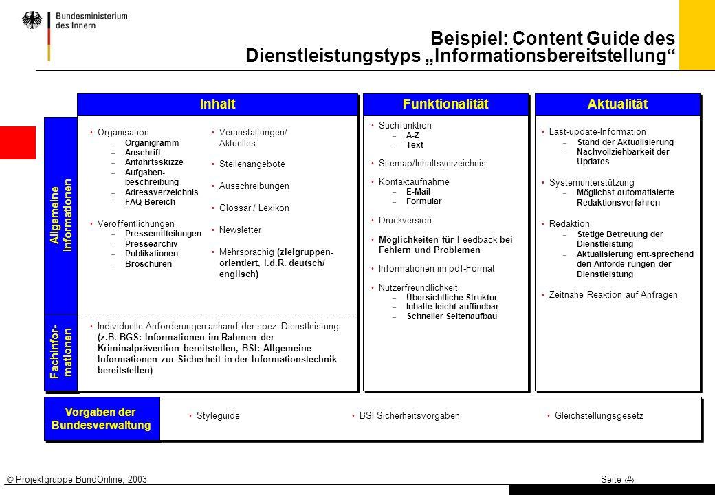 © Projektgruppe BundOnline, 2003Seite 3 Beispiel: Content Guide des Dienstleistungstyps Informationsbereitstellung Allgemeine Informationen Allgemeine