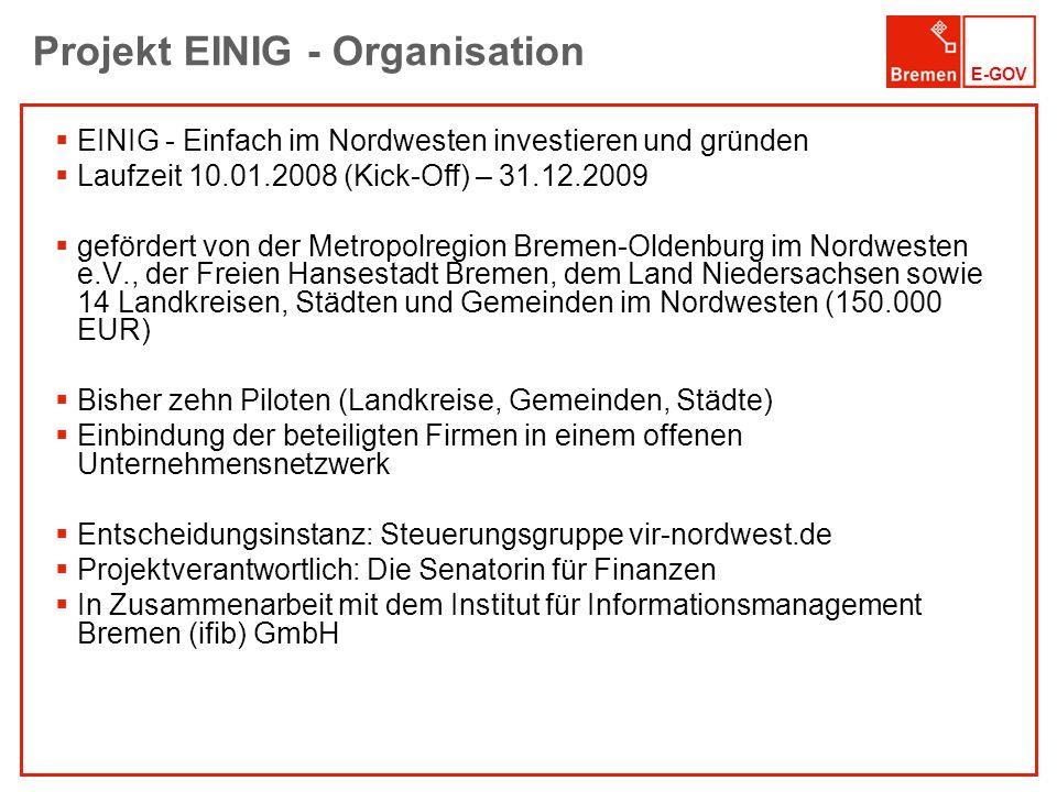 E-GOV Projekt EINIG - Organisation EINIG - Einfach im Nordwesten investieren und gründen Laufzeit 10.01.2008 (Kick-Off) – 31.12.2009 gefördert von der