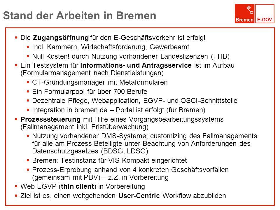 E-GOV Stand der Arbeiten in Bremen Die Zugangsöffnung für den E-Geschäftsverkehr ist erfolgt Incl. Kammern, Wirtschaftsförderung, Gewerbeamt Null Kost