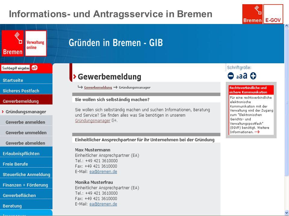 E-GOV Informations- und Antragsservice in Bremen