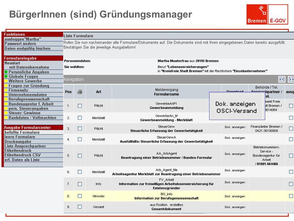 E-GOV BürgerInnen (sind) Gründungsmanager