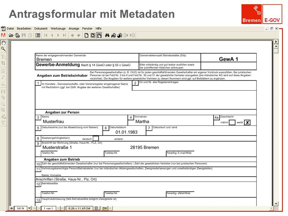E-GOV Antragsformular mit Metadaten